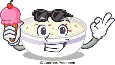 happy face steamed egg cartoon design with ice cream