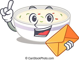 Happy face steamed egg mascot design with envelope
