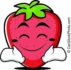 Happy face strawberry character cartoon