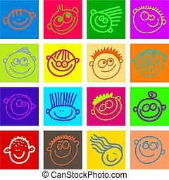happy face tiles - A set of happy smiling cartoon face tile...