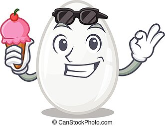 happy face white egg cartoon design with ice cream