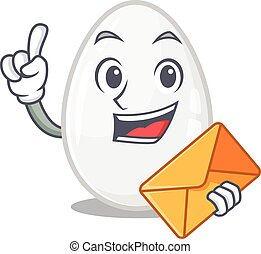 Happy face white egg mascot design with envelope