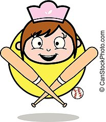 Happy Face with Baseball Bat - Retro Cartoon Waitress Female Chef Vector Illustration