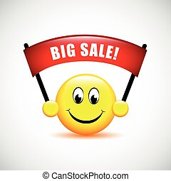 happy face with big sale banner for promotion