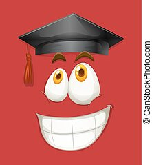 Happy face with graduation cap