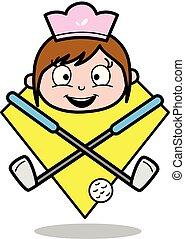 Happy Face with Hockey - Retro Cartoon Waitress Female Chef Vector Illustration