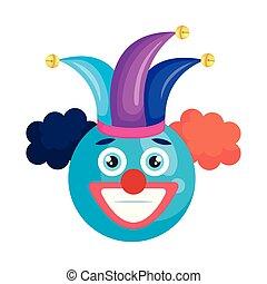 happy face with joker hat emoticon