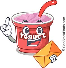 Happy face yogurt mascot design with envelope