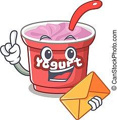 Happy face yogurt mascot design with envelope