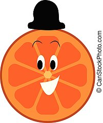 Happy faced orange slice with black hat vector illustration on a white background