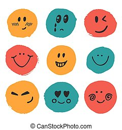 Happy faces. Cute vector set of hand drawn funny faces