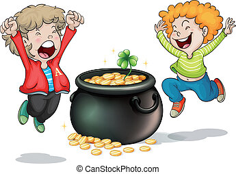 Happy faces of two kids with a pot of money - Illustration...