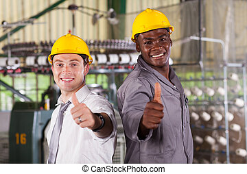 happy factory foreman and worker thumbs up
