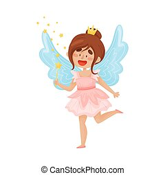 Happy fairy with wings in a pink dress with a crown on her head. Vector illustration on a white background.