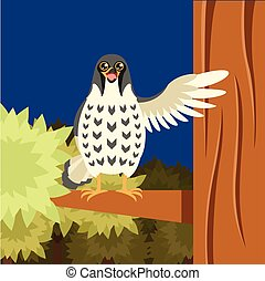 Happy Falcon on the Tree flat background