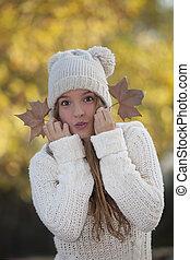 happy fall teen girl