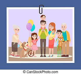 Happy Familly Photocard on Vector Illustration - Big happy...