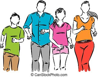 happy family active running vector illustration