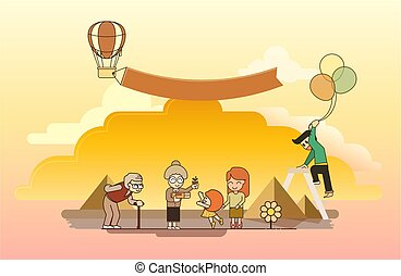 Happy family activity outdoor concept. flat character design. vector illustration