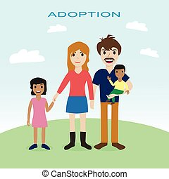 Happy family, adoption, love, mother, father, children