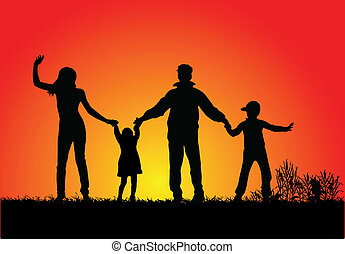 happy family and a beautiful sunset