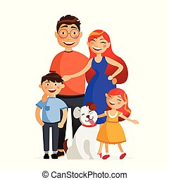Happy family are standing together in hug. Father, mother, son, daughter and dog. Family flat vector illustration isolated on white background.