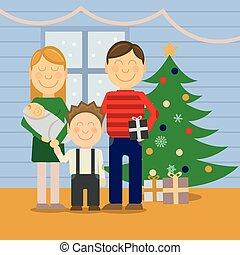 Happy family at Christmas, greeting card