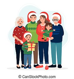 Happy family at christmas, parents with kids and grandparents. Cute vector illustration in flat style