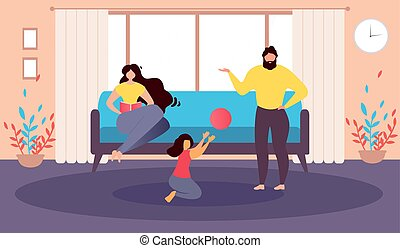 Happy Family at Home Cartoon Vector Illustration