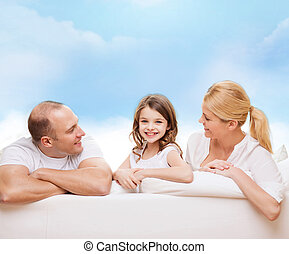 happy family at home - family, childhood and people -...
