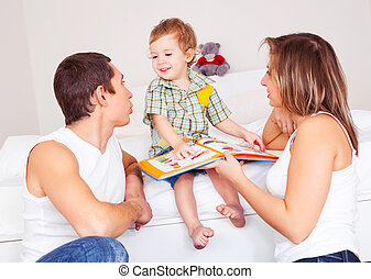 happy family at home - happy family, mother ,father and...
