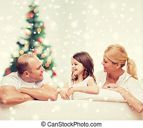 happy family at home - family, childhood, holidays and...
