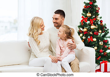 happy family at home with christmas tree - family,...