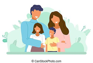 Happy family at leaves background, mother, father, boy, girl portrait, smiling parents children