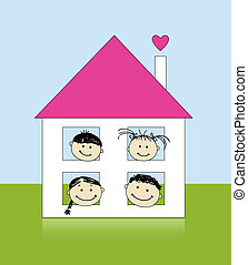 Happy family at own house smiling together, drawing sketch