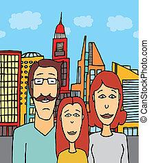 Happy family at the city