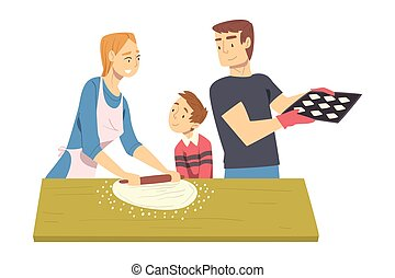 Happy Family Baking Cookies in the Kitchen, Parents Spending Time with their Son and Cooking Together Cartoon Style Vector Illustration