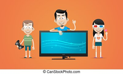 Happy family bought new plasma television - Illustration, ...