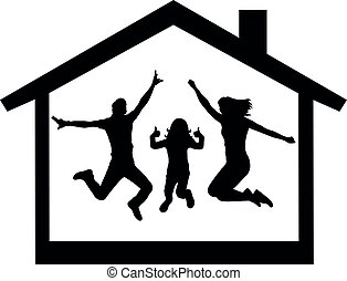 Happy family buying a house silhouette