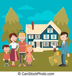 Happy Family Buying a New House. Real Estate Agent with Keys...
