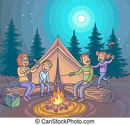 Happy family camping with campfire at night. Vector...