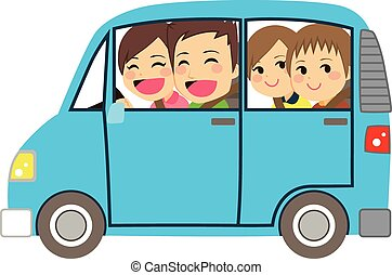 Happy Family Car Minivan - Side view illustration of cute...