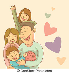 Happy Family - cartoon illustration of happy family