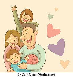 Happy Family - cartoon illustration of happy family