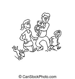 happy family cartoon. outlined cartoon handrawn sketch illustration vector.