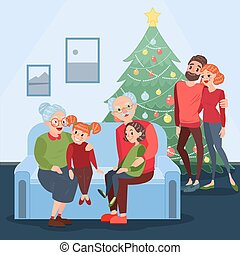 Happy Family Celebrating Christmas. Grandparents with Grandchildren on New Year Eve. Winter Holidays. Vector illustration
