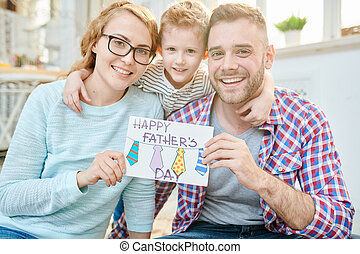 Happy Family Celebrating Fathers Day