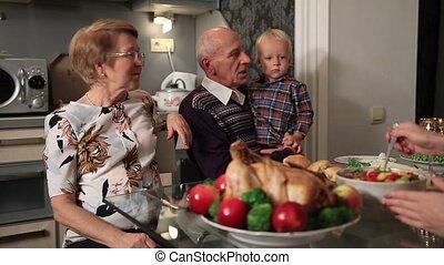 Happy family celebrating Thanksgiving holiday - Happy family...