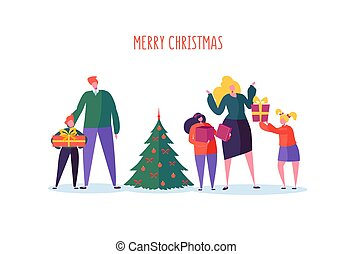 Happy Family Celebrating Winter Holidays with Christmas Tree and Gifts. Parents and Children on New Year Party. Vector illustration