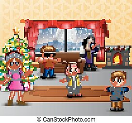 Happy family celebration a christmas in the home